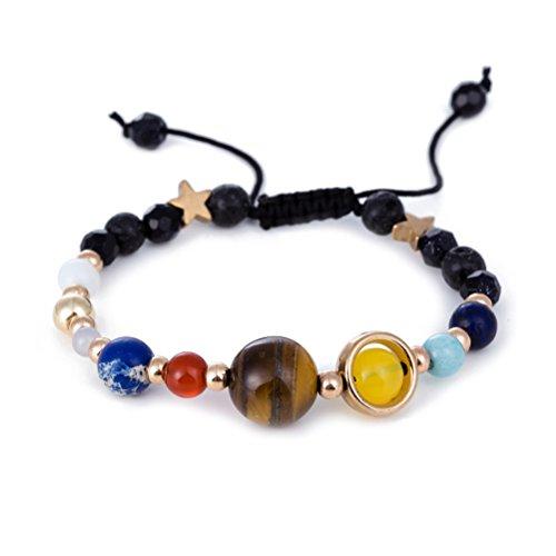 LUOEM Frauen Männer Perlen Armbänder Universum Galaxy die neun Planeten Wächter Stern Stein Armband gewebt Armreif
