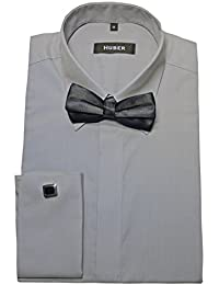 HUBER Umschlag Manschetten Hemd grau mit Fliege schwarz 1014 Bequeme  Passform S bis 4XL ec7051c3bc