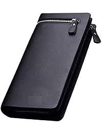 ESnipe Mart® Men and Women Designer Long Black Zipper Wallet (Black)