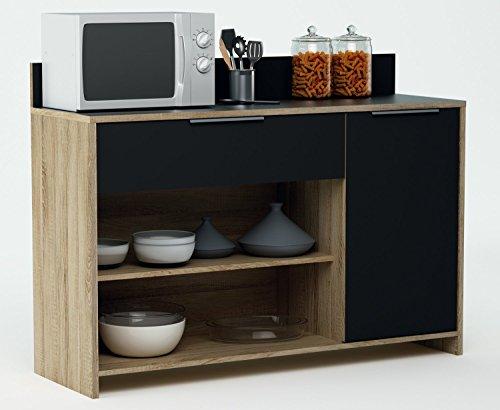 habeig Küchenschrank 223 Eiche-schwarz Schrank Küchenregal Küchenmöbel Singleküche Holz