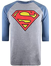 DC Comics Men's Distressed Superman Logo Long Sleeve Top