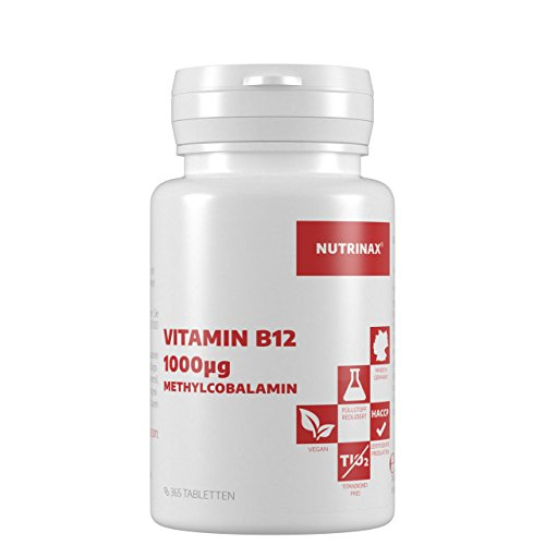 Vitamin B12 Methylcobalamin 1000mcg hochdosiert - 365 Tabletten - Lutschtabletten mit Lemongeschmack - vegan - Made in Germany