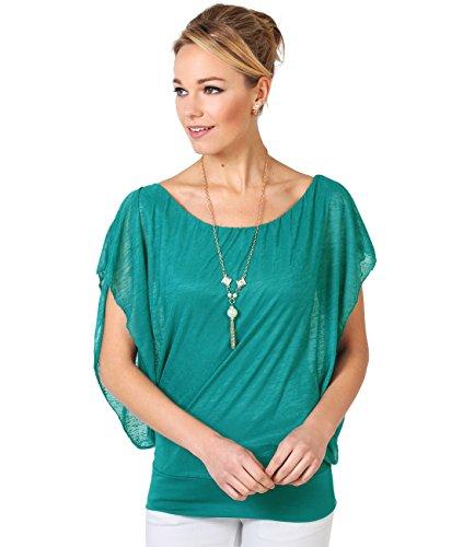 KRISP 6093-TEA-ML: Leichtes Fledermausärmel Shirt Kurze Ärmel (Petrol, Gr.M/L) (Ärmel Kimono Tunika Top)