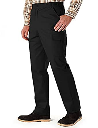 Mens Cotton Cargo Combat Side Elasticated Work Trousers Black 32W x 27L
