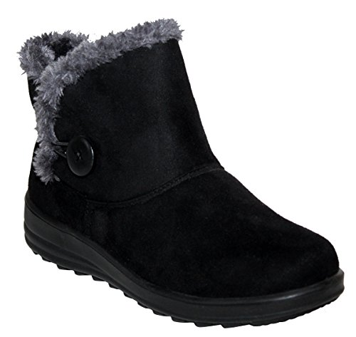 Cushion Walk Womens Ladies Lightweight Fur Lined Girls Warm Casual Comfort Winter Ankle Boots UK Sizes 3-8