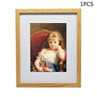 WFLNHB 9x11 in Picture Frame, Made of Oak, Made to Display Pictures 6x8 with Mat or 9x11 Without Mat (1)