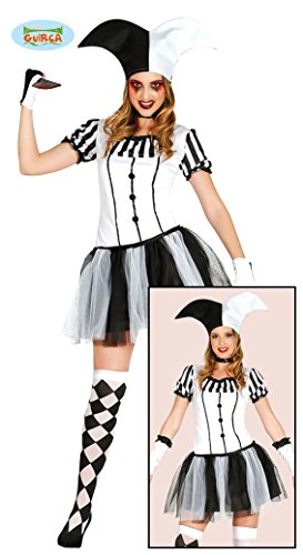 Harlequin Lady Halloween Kostüm für Damen Clown Joker Halloweenkostüm Killer Damenkostüm Clownkostüm Gr. S-L, ()
