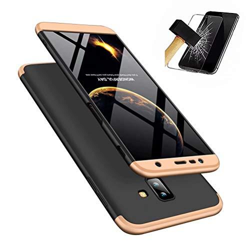 MISSDU kompatibel mit Premium Hart PC 360 Grad Hülle Samsung Galaxy J4+/J4 Plus (2018) Hülle + Panzerglas,3 in1 Handytasche Handyhülle Schutzhülle Cover - Schwarz+Gold