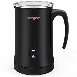 Homgeek Electric Milk Frother Automatic Milk Frother Premium Stainless Steel Milk Warmer Latte Cappuccino Frother for Hot and Cold Milk Silent Operation 150ML