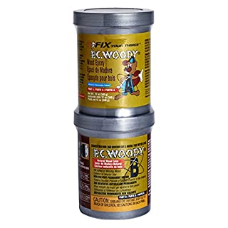 PC Products 16333 PC WoodyTwo-Part Wood Repair Epoxy Paste, 12 oz in Two Cans, Tan