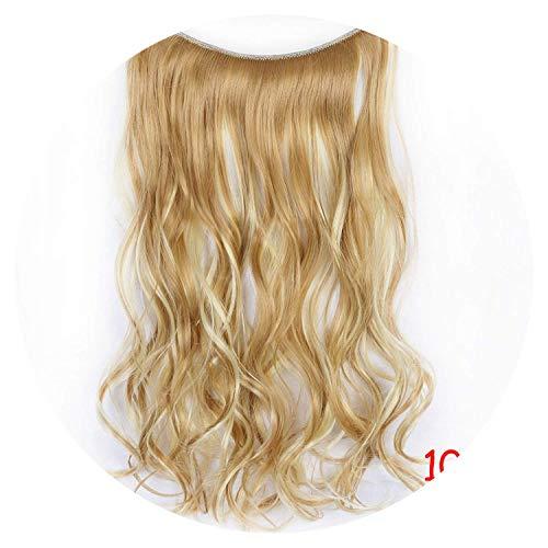 DVQTA Shirt, 61 cm, gewellt, unsichtbarer Draht, keine Clips im Haar, Ex-Spannungen, geheime Fischschnur, natürliche Synthetik (Spannung Clips)