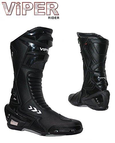 Wasserfest Stiefel Viper Sitz 966S CE geprüfter Schwerlast verstärkt Racing Urban Touring Tempo Sportstiefel schwarz - Schwarz, 46/12 (Stahl Zehen Stiefel Wasserdicht)