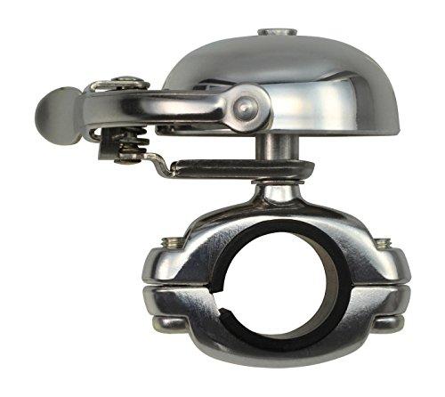 CRANE Bell Co. Fahrradklingel Mini Suzu W Die Cut Mount, Silber Poliert, CR-MSZDC-PL