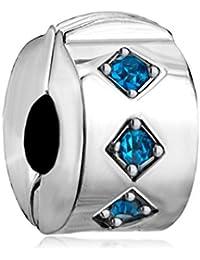 Uniqueen Charm à clip en pierre de naissance, cristal espaceur - Compatible avec bracelet Pandora
