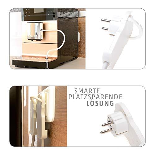 4smile Flachstecker Mehrfachsteckdose 3fach weiß – Steckdosenleiste mit Schalter, Klappgriff für einfaches Herausziehen, 2m Zuleitung – die praktische Steckdose Flachstecker schafft Raum