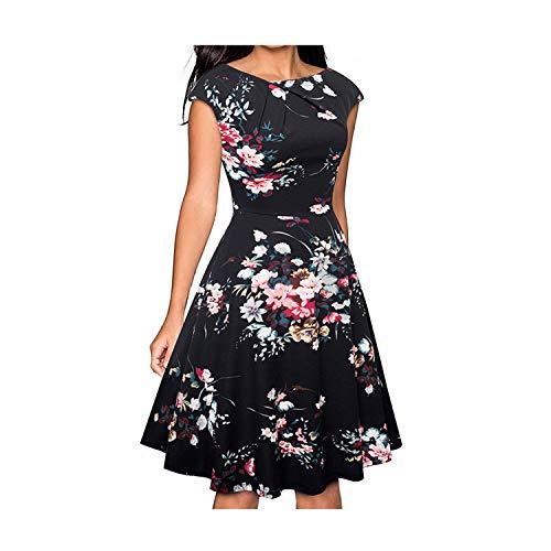 Nice-Forever Elegant Vintage Floral Printed Party Vestidos Cap Sleeve A-Line Female Flare Swing Women Dress Black and Flower L -
