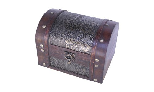 Madera spielerei fd8608de l–Baúl de madera con piel, tamaño grande