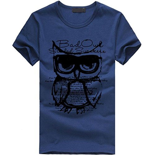 Amlaiworld Sommer-Tierdruck-T-Shirt Oberseite, Kühles und Buntes T-Shirt, T Kurze Regelmäßige Hülse (XXL, Marine)