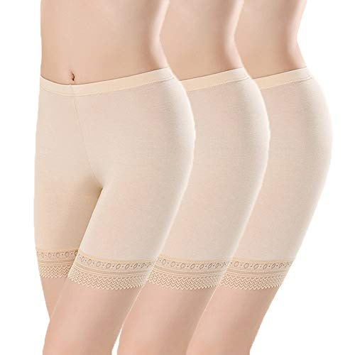 L&K-II 3er Pack Damen Panties mit Spitze 3414 M/L Hautfarben -