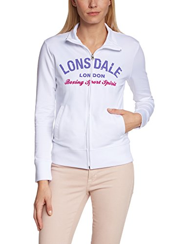Lonsdale - Stretch Zipsweat Jacket Waterlooville, Giacca Donna, Bianco (Weiß), Small (Taglia Produttore: Small)