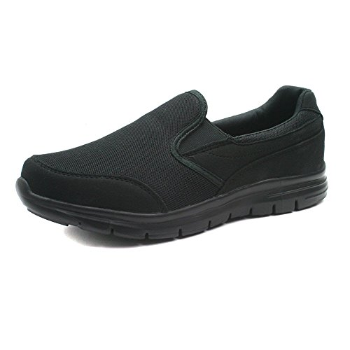 Boston Athletics Mens Stride Slip On Twin Gusset Comfortable Trainers (UK  10, Black)