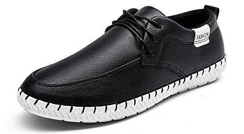 Anlarach Hommes Casual Oxford Chaussures En Cuir à Lacets Pour Chaussures Plates Noir