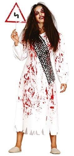 �e Kill Opfer Ghost lustig schlechter Geschmack Halloween Horror unheimlich Kostüm Kleid Outfit UK 14-18 - Weiß, UK 12-14 (Unheimliche Halloween Kostüme Uk)