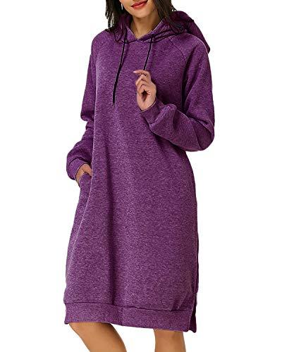 Kleid Jumper Top (Kidsform Damen Kapuzenpullover Pullover Hoodie Lange Tops Langarm Sweatshirt Casual Täglich Herbst Pulli Kleider Sweatjacke Jumper Lila EU 46/Etikettgröße 2XL)