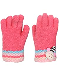 FabSeasons Acrylic Woolen Winter Gloves for Baby Girls, fits for 2-5 years