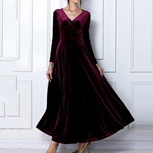 Robes femme Robe rétro vintage V-cou robe de cocktail à manches longues robes de velours Robes Swing Longue Fête robe de bal Hibote vin rouge