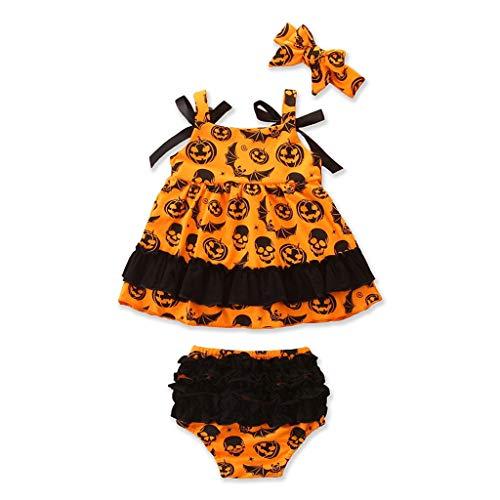 Lomelomme Halloween Overall Set Mädchen Baby Strampler und Shorts Stirnband Party Kostüm Skelett Baby Strampler Ohne Arm Mädchen (Orange Shorts Kostüm)
