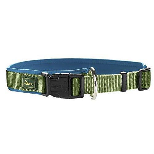 hundeinfo24.de Hunter® Halsung m. Zugentlastung Nylon Neopren hellgrün/petrol Hundehalsband Halsband Hunde Halsung Neo Style to go