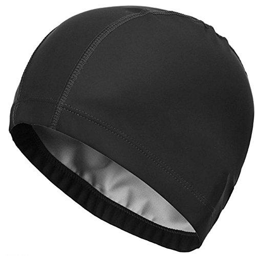CALISTOUK UV-Schutz, der Frau Badekappe für Erwachsene mit PU-Beschichtung, Schwimmen Hat, Schwarz