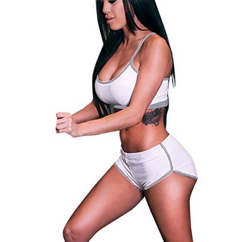 OSYARD Damen Set Sport Yoga Camis Running Shorts Hose Weste Hosen Stretch Trainingsanzug(XL,Weiß)