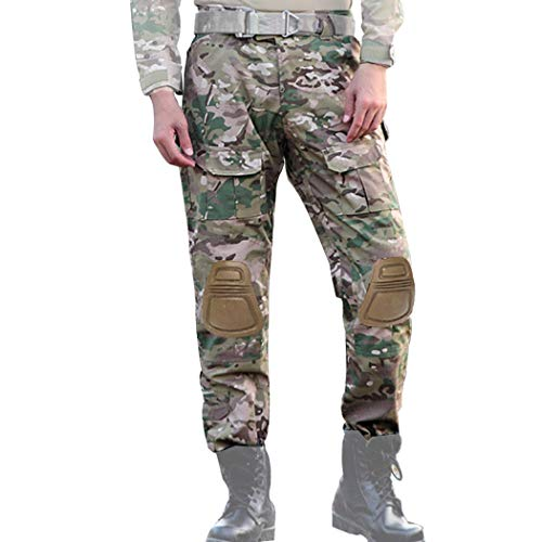 Army Military Pants (COZYJIA Airsoft Tactical Hose, Herren Shooting Camo Combat BDU Combat Pants Hose mit 2 Stück Kniepolster für Tactical Military Army Airsoft Paintball)