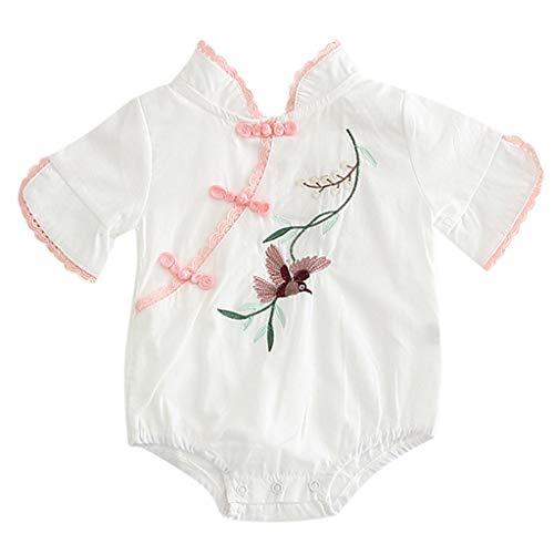 Alwayswin Baby Mädchen Junge Blumen Stickerei Strampler Bodysuit Outfits Kurzarm Chinesischen Stil Nationalen Wind Spielanzug Bequem Atmungsaktiv Romper Sommer Freizeit Overall