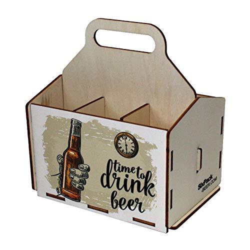 41VF1Zdx2%2BL - Bierträger aus Holz - Sixpack - 6er Träger - Sechserträger - Geschenk Männer, Bier, Grillzubehör, Geburtstagsgeschenk für Männer, Grillparty, Bier-Geschenk