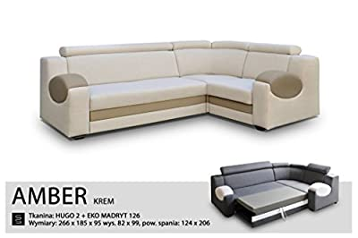 UNIVERSAL HAND CORNER SOFA BED - AMBER CREAM - FABRIC & FAUX LEATHER 266x185CM from Megan Furniture