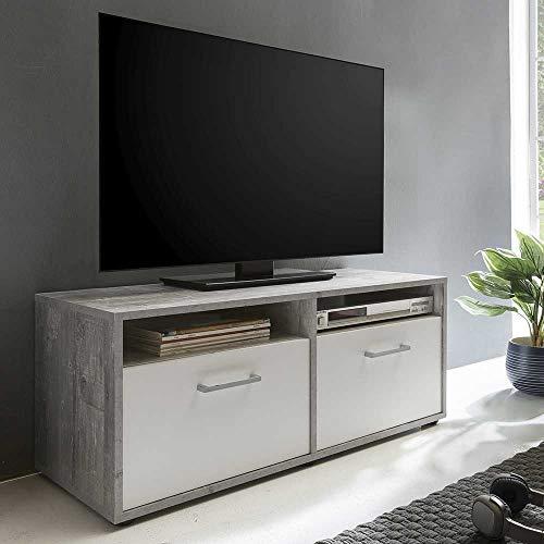 Pharao24 TV Board mit Klappen Weiß und Beton Grau
