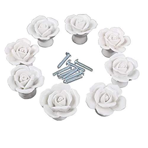 Onsinic weiße Blume Rose Türgriffe + Schraube Blumenweinl Keramik Küchen-Stoßgriff Knob Startseite Modern Style Schrank Pulls Schublade Knöpfe und Griffe -