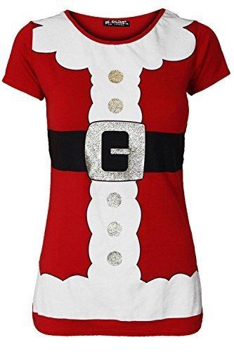 Be Jealous Damen Weihnachten Weihnachtsmann Kostüm Gürtel Aufdruck Weihnachten Flügelärmel T-shirt Uk Plus Size 8-22 - Rot, Übergröße (Kostüme Size Plus La La)