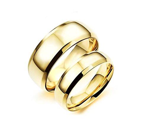 Bishilin 1 paio uomo donna anello da acciaio inossidabile alta lucido rotondo larghezza 8/6 mm fedi nuziali anelli argento da coppie donna misura 12 & uomo misura 20