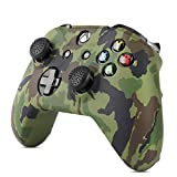 TNP Silicone Gel Controller Skin Set for Xbox One S / Xbox - Soft Rubber Grip Protective Case Cover & Anti-Slip Thumbstick Caps for Microsoft Xbox One S / Xbox Wireless Gaming Gamepad (Camo Green)