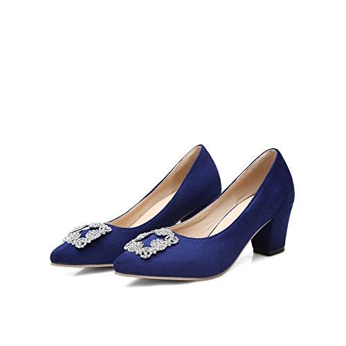VogueZone009 Femme à Talon Correct Couleur Unie Tire Pointu Chaussures Légeres Bleu