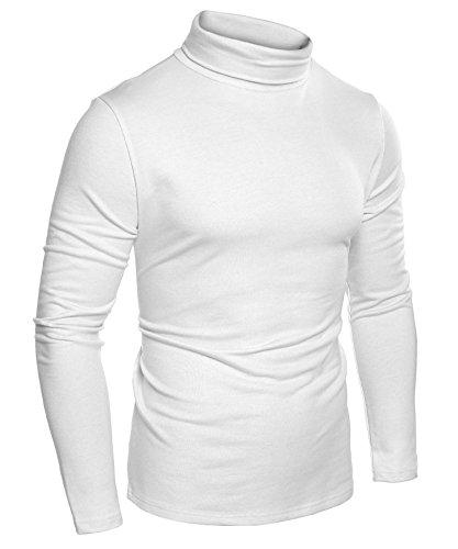 Burlady Herren Longsleeve Rollkragenpullover Basic Slim Fit Sweatshirt Fit Vielen Farben Vegan Funktionsshirt, Weiß, S - Weiße Baumwolle Rollkragen