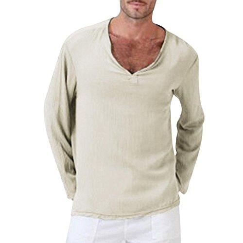 TEELONG Herren Sommer T-Shirt Baumwolle Leinen Thai Hippie Hemd V-Ausschnitt Strand Yoga Top Bluse Hemd Weste Sweatshirt Baumwollshirt Longshirt Ärmellos Playsuit(2XL, Khaki -