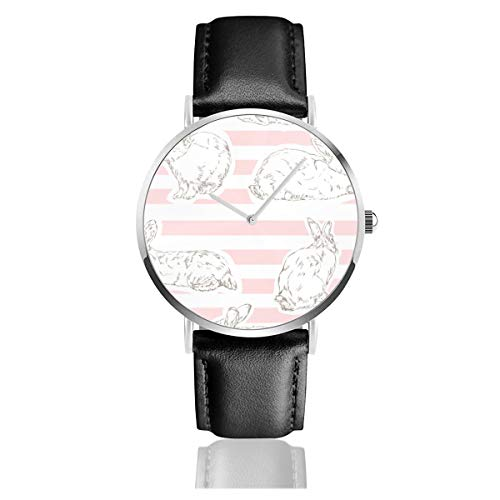 Armbanduhr Quarzuhr rosa Häschen Muster Casual Uhren für Herren Damen Damen mit schwarzem Leder Armbanduhr