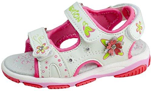 gibra Sandalen für Kinder mit Lederfußbett, Art. 4047, Weiß, Gr. 25 (Kleinkind Kinder Fuchsia Schuhe)