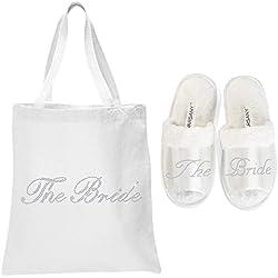 Varsany. Cristal blanco abierto Toe Spa Zapatillas y bolsa regalo bolsas boda novia despedida de soltera (nuevo)