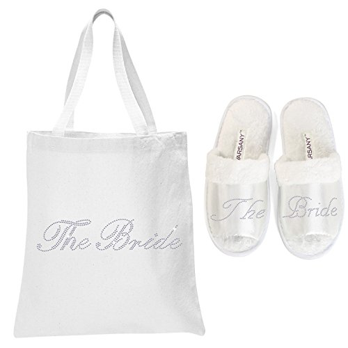 White The Bride Crystal Open Toe Spa Slippers and Tote bags wedding bride gift hen party by CrystalsRus The Bride